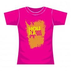 "Triko dámské HOUBA ""Honeycomb"" růžové s žlutým potiskem"